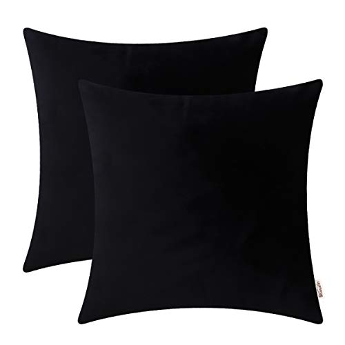 BRAWARM Pack of 2 Cozy Velvet Throw Pillow Covers Cases for Couch Bed Sofa Solid Super Soft Fleece Cushion Covers Both Sides for Home Decoration 20 X 20 Inches Black (Black Big Pillows)