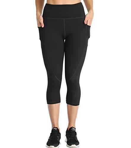 RAYPOSE Womens High Waist Workout Capris Leggings w Pockets Running Capri High Waisted Tummy Control Yoga Pants for Women Gym Capris Non See Through Black-S