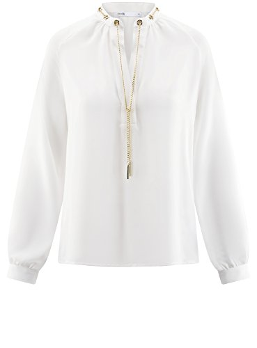 Mtal avec Ornements 1200n Fluide Blanc Collection en Chemisier en Femme oodji Tissu wqz4OYxx