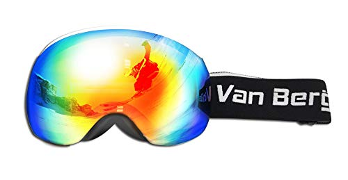 van bergen Magnetic SKI Goggle 2 Lenses KIT-Large Frame (White) -