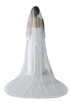 Newdeve 3M/4M White/Ivory Lace Edge Simple 2 Tier Cover Face Bridal Veils