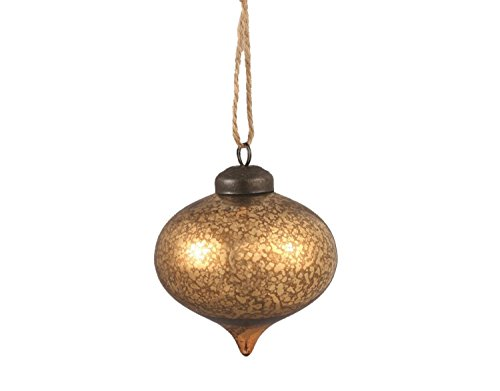 3.25'' Luxury Lodge Antique Gold Mercury Glass Onion Finial Christmas Ornament by Napa Home & Garden