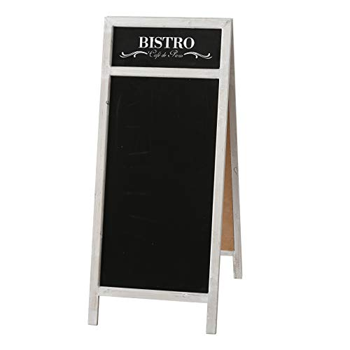 WHW Whole House Worlds Sidewalk Bistro Chalk Board, A-Frame Double Sided Easel, Sustainable Wood Frame, Black Writing Area Inset, Over 3 Feet Tall (25 1/4 L x 19 W x 43 1/4 H Inches) Flip Out