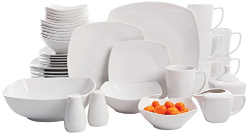 Gibson Home Zen Buffetware 39 Piece Porcelain Dinnerware Set Service for 6 with Serveware, Square, White - Collection 8 Piece Dinner Plates