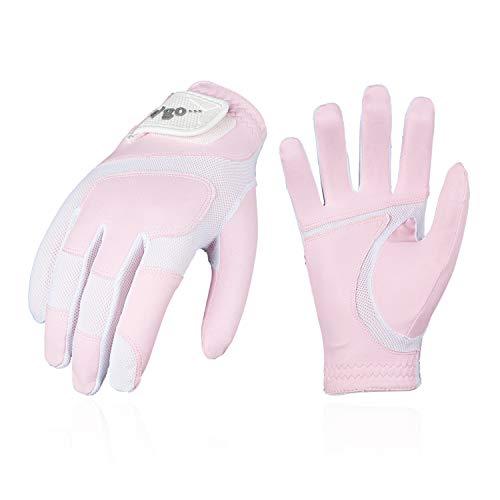 Vgo... Golfhandschuhe für Damen, PU-Palmen, weich und atmungsaktiv(1 Paar, Weiß, MF7991)