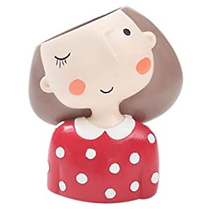 FENHAR Cute Head Flower Planter Flowerpot Succulent Plant Pot Creat Design Home Garden (red Girl)