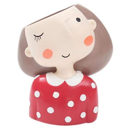 - FENHAR Cute Head Flower Planter Flowerpot Succulent Plant Pot Creat Design Home Garden (red Girl)