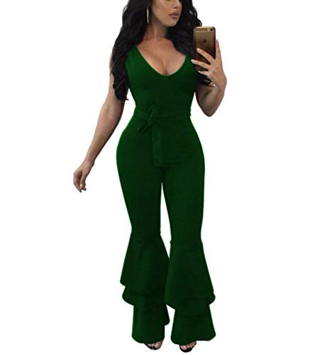 Ophestin Women's Sexy Flare Bell Bottom Pants Bodycon One Piece Jumpsuit Rompers with Belt Green Size M