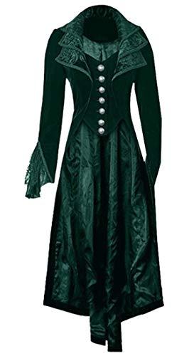 WSPLYSPJY Womens Jacket Gothic Steampunk Victorian Halloween Costume Long Coat Blackish Green S -