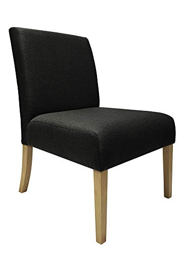 (Black Accent Chair - Armless - Fabric Upholstery - Solid Wood Legs - Classic Design)