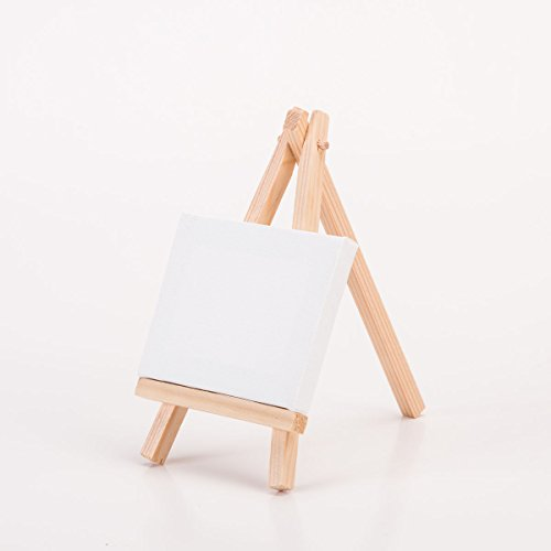 Sepwedd 2.7 x 3.5 inch Mini Canvas and mini Easel Set Painting Craft Drawing - Set Contains 12 Mini Canvases and 12 Mini Easels 3.5 x 6.3 inch by Sepwedd