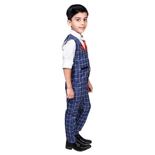 31xC7s2NVZL. SS500  - ahhaaaa Boy's Blended Waistcoat, Shirt, Tie Trouser Set