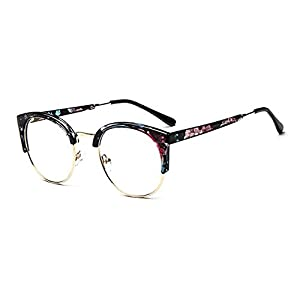 MOQQE Eyeglasses Glasses Frame Eyewear Fashion Cateye Round For Men and Women(C4)