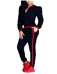 FOUNDO Women's Tracksuit Puff Sleeve Zip-Up Jacket and Pants Set Jogging Suits