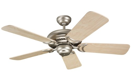 (Monte Carlo 5DS44BP Designer Supreme II 44-Inch 5-Blade Ceiling Fan with Natural Maple Blades, Brushed Pewter)