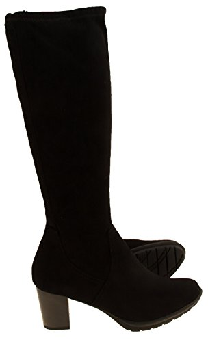 Mujer Marco Tozzi alto estiramiento Slouch Botas Negro