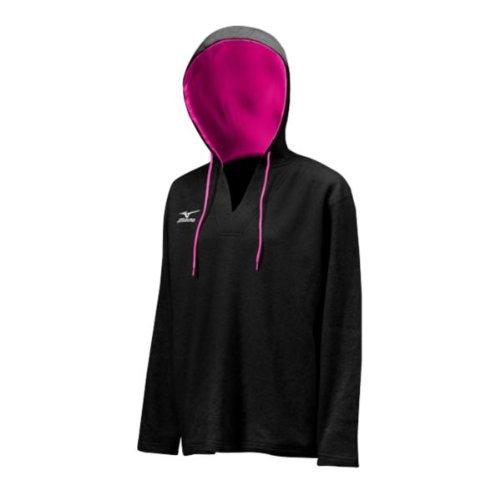 Mizuno Women's Fleece Pullover Hoody, Black/Pink, Medium