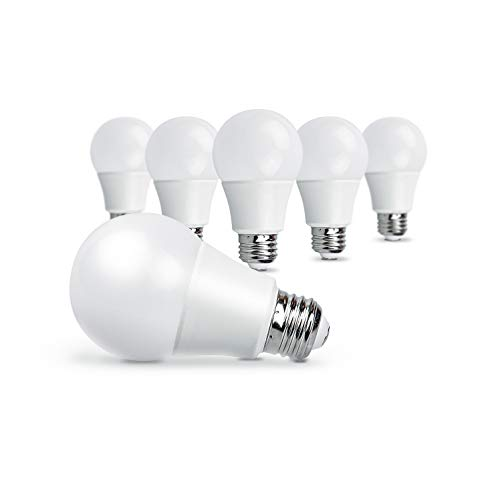 OSTWIN Non-Dimmable LED Light Bulb A19 E26 Medium Base 12W (75 Watt Equivalent) 1100lm 3000K (Warm White) 6-pack, UL listed ()