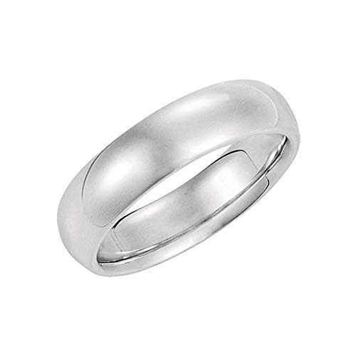 5mm Domed Comfort Fit Wedding Band in Sterling Silver, Size 11