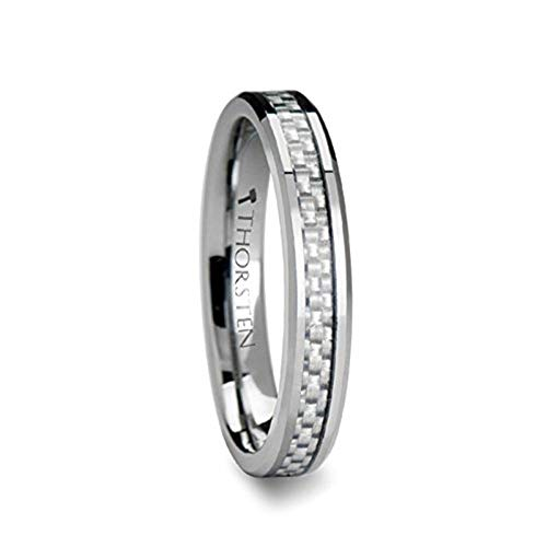ULTIMA 4 mm Beveled Tungsten Wedding Band with White Carbon Fiber - FREE Engraving, FREE Expedited Shipping & FREE