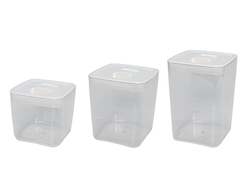 Click Clack Cube Storage Containers Capacity, 1-1/2, 3 and 4-1/2-Quart, White, Set of 3 (Click Clack Canister)