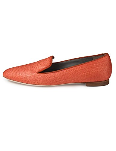 raffia trim flats canvass kid b4Ballerinas orange loafer upper orange nPqwzx0O1