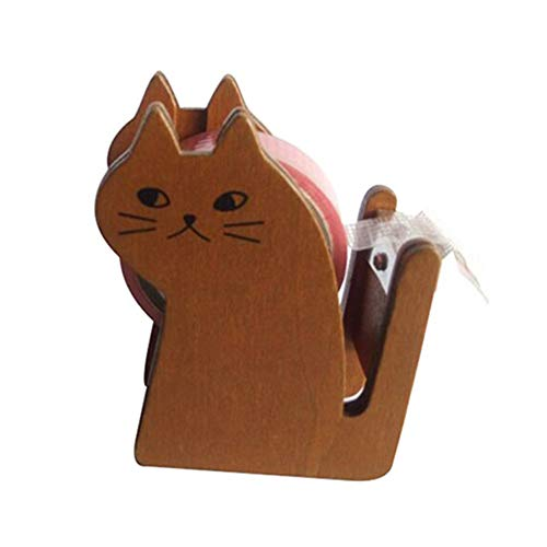 Cat Tape Dispenser ,Vintage Wooden Cute Kitty Tape Cutter with 1 Roll Tape for Home Office Desktop Accessory (Brown)