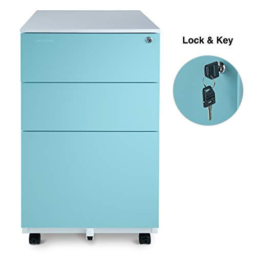 Aurora Mobile File Cabinet 3-Drawer Metal with Lock Key Sliding Drawer, White/Aqua Blue, Fully Assembled, Ready to Use (Home File For Use Cabinets)