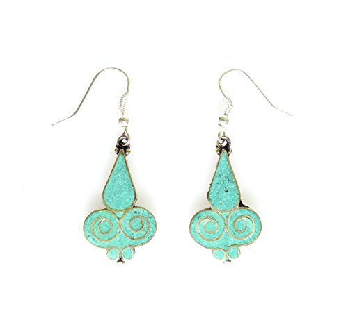 turquoise earrings for women fine handmade ethnic tribal buddhist bohemian fashion boho earrings by Tibetan silver designer dangle drop earrings ()