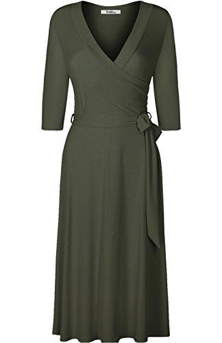 - BodiLove Women's 3/4 Sleeve V-Neck Solid Knee Length Mock Wrap Dress Olive M