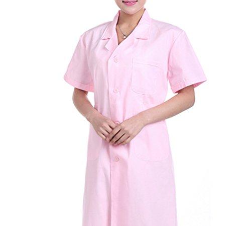 Nanxson-TM-Mens-Womens-Short-Sleeve-Doctor-Uniform-Lab-Uniform-Coat-White-CF9006-M-Women-Pink