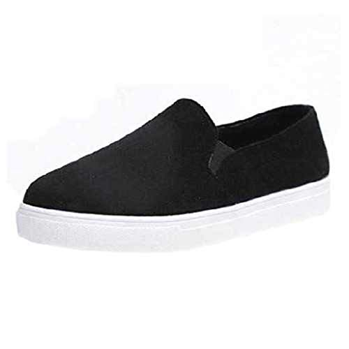 Women's Espadrilles Flat Shoes Driving Loafers Slip On Comfort Insole Walking Shoe Canvas Sports Sneakers (US:7, Black)