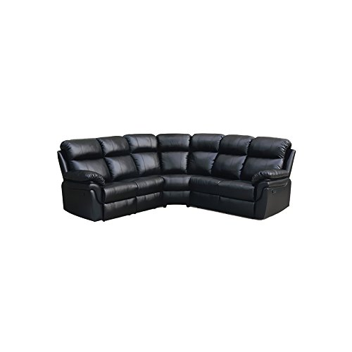 Milton Greens Stars Frankfurt Sectional Sofa with 2 Recliners, Black (Sofa Sleeper On Sale)