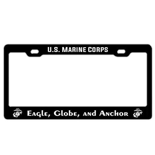 - US Marine Corps Eagle, Globe, Anchor Aluminum Metal License Plate Frame Black Auto License Tag Holder