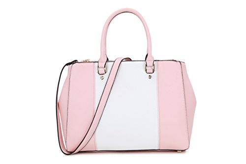Quality School Women's Tote White Leather LeahWard® Faux Work Pink Bags Handle Shoulder Designer CWJM435 Top Women For Bags For College High CSxapXwdpq