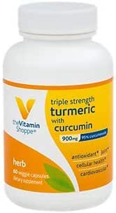 The Vitamin Shoppe Triple Strength Turmeric with Curcumin 900mg, Supports Joint Mobility Provides Antioxidant Benefits 5mg Bioperine to Enhance Nutrient Absorption Once Daily (60 Capsules)