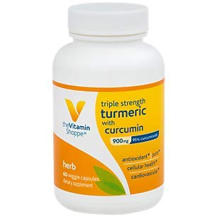 The Vitamin Shoppe Triple Strength Turmeric with Curcumin 900mg, Supports Joint Mobility Provides Antioxidant Benefits 5mg Bioperine to Enhance Nutrient Absorption Once Daily (60 Capsules) ()