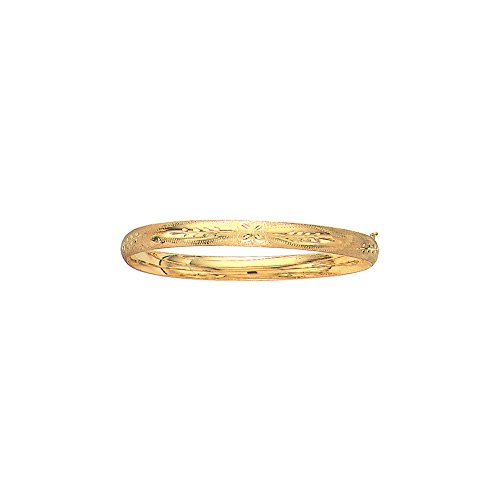 14K Yellow Gold Solid Florentine Round Dome Classic 6mm Wide Bangle 7
