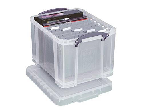 Really Useful Boxes(R) Plastic Storage Box, 32 Liters, 12in.H x 14in.W x 19in.D, Clear, 32C - Hanging File Tote