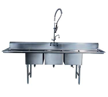 Winholt WS3T10142D18 Three Compartment Sink with 18'' Left & Right Hand Drainboards, 14'' Front-to-Back x 10'' Wide x 12'' Deep Bowls