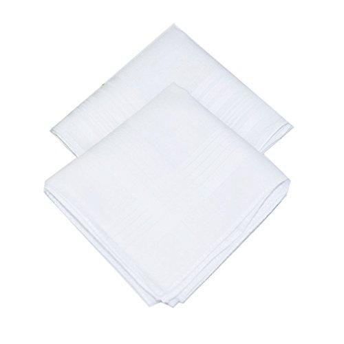 La Closure Mens Solid White 100% Cotton Handkerchiefs Pack Bulk (Handkerchief Cotton White)
