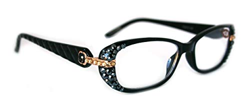 Glamour Quilted, Women Reading Glasses Bling Adorned with Hematite + Light Colorado Swarovski Crystal +1.25 +1.50 +1.75 +2.00 +2.25 +2.50 +2.75 +3.00 in Black, Red, White and Tortoise Brown