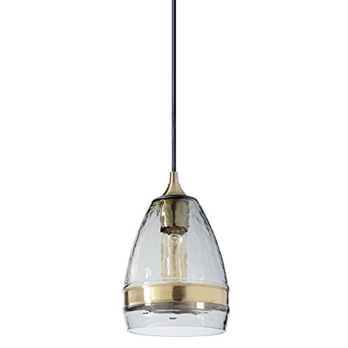 Casamotion Pendant Lighting Handblown Glass Drop Ceiling Lights, Industrial Hanging Bell Light with Brass Ring, Smoke, 6