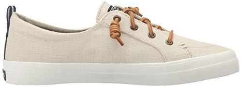 Sperry Womens Crest Vibe Linen Sneaker, Oat, 10