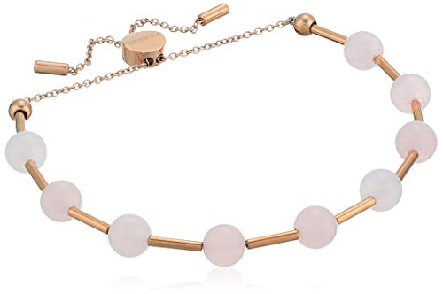 Skagen Women's Anette Rose-Tone Rose Quartz Beaded Bracelet, Rose Gold/Pink, Size: 0