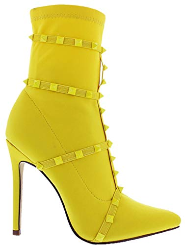 Liliana Donna-9 Womens Ankle High Boots Elastic Stretchy Pointed Toe High Heel Spikes Yellow 7