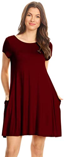 Simlu Womens A Line Dress with Short Sleeves,