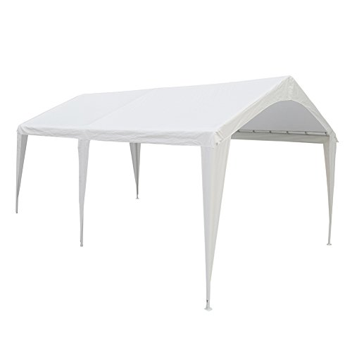 Abba Patio 10 x 20-Feet Outdoor Carport Canopy with 6 Steel Legs, White by Abba Patio