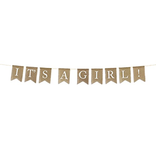 - Andaz Press Real Burlap Fabric Pennant Hanging Banner It's a Girl!, Pre-Strung, No Assembly Required, 1-Set