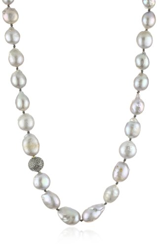 "Lena Skadegard ""Galatea"" Freshwater Pearls with Silver Pave Diamond Ball Necklace"